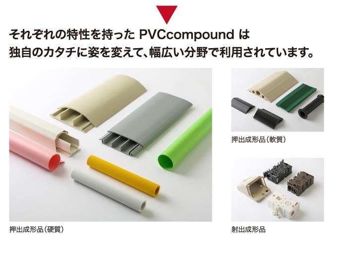 それぞれの特性を持った PVCcompound は 独自のカタチに姿を変えて、幅広い分野で利用されています。