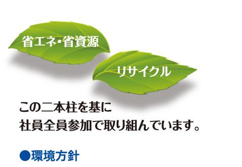 ●環境方針 省エネ・省資源 リサイクル この二本柱を基に社員全員参加で取り組んでいます。